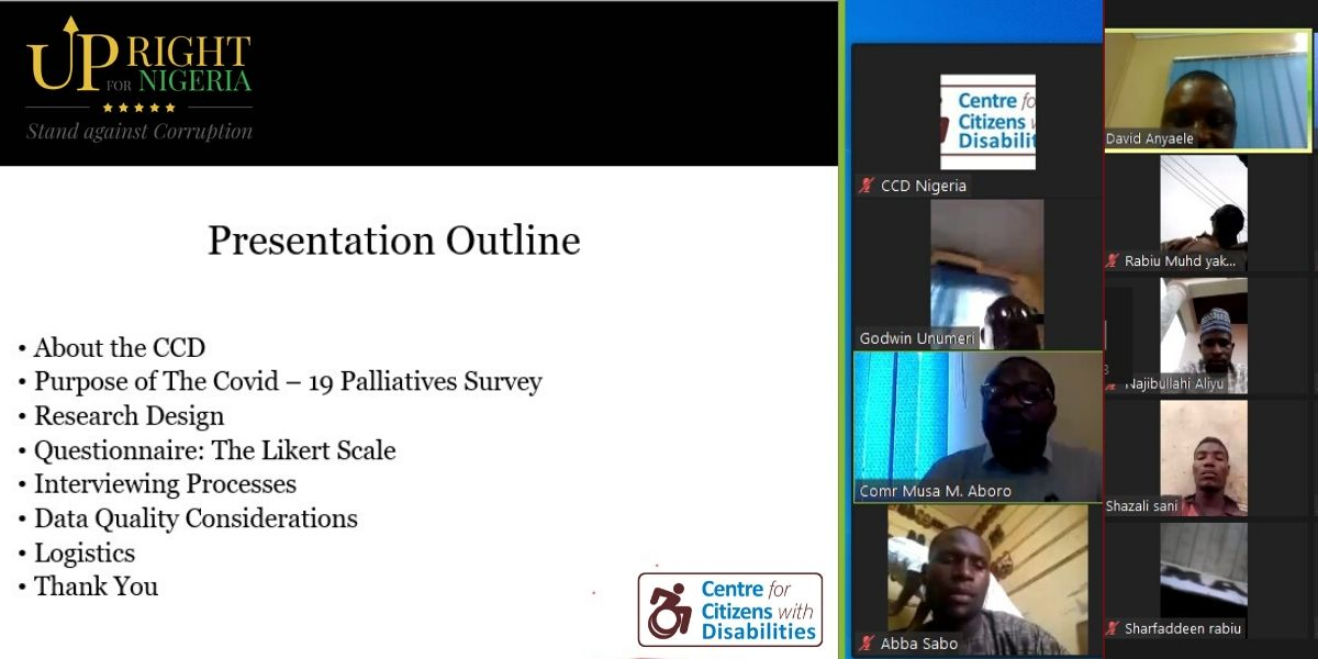 Virtual training on how to track palliatives distribution to PWDs